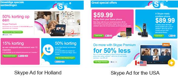 geo-targeted skype
